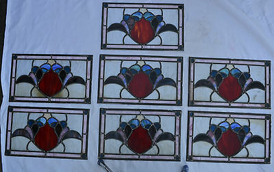 7 leaded light stained glass window panels. R290b. WORLDWIDE DELIVERY!!!
