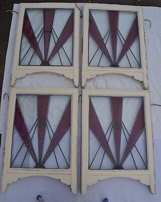 4 art deco violet leaded light stained glass windows. R511b. WORLDWIDE DELIVERY!