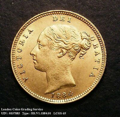 GEF 1884 Gold Half Sovereign. Graded and encapsulated, CGS65.(MS60-61)