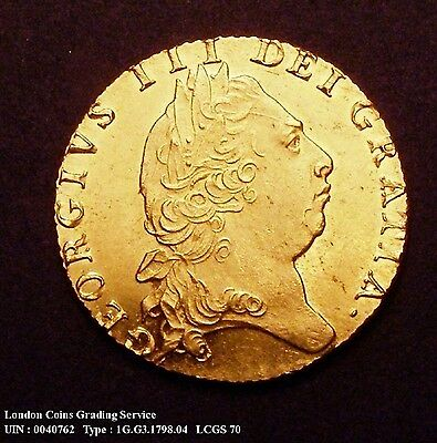 A/UNC 1798 Full Gold Guinea. Graded and encapsulated, CGS70.(MS60-61)