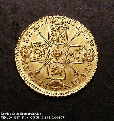 A/UNC 1718 Gold Quarter Guinea. Graded and encapsulated, CGS75.(MS62-63)