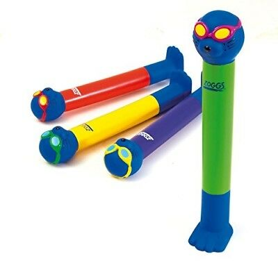 ZOGGS KIDS SWIMMING POOL GAMES FUN PLAY and LEARN ZOGGY DIVE STICKS TOYS 4 SET