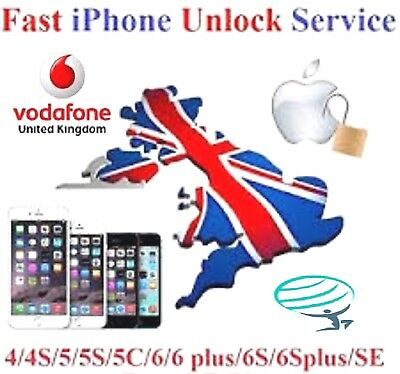 Vodafone UK iPhone 3gs 4 4s 5 5s 5c 6 6s 6+ 6s+  Clean IMEI Unlocking