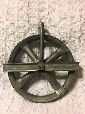 "5"" clothes line pulley old vintage rustic galvanized steel tarnished Stanley"