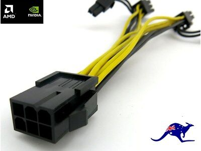PCIe Express 6 Pin to Dual 8 Pin (6 + 2) PCI Male Power Splitter Adaptor Cable