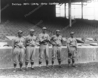 B-Ruth B- Red Sox Five Baseball Players Pose 1910s 8 by 10 Reprint Photograph