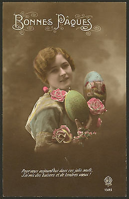 Bonnes Paques. Happy Easter in France - Early French Easter Postcard