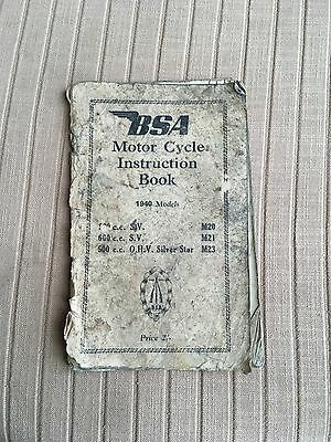 BSA Motorcycle Instruction Book 1940 Models