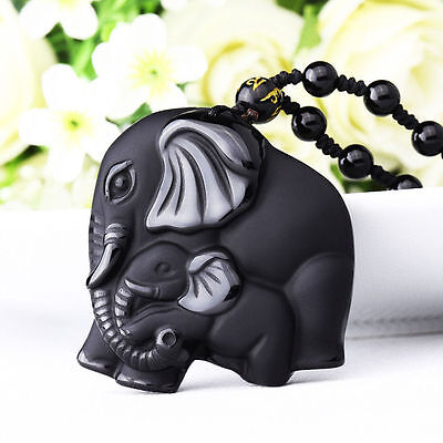 Natural Black Obsidian Hand Carved Cute Elephant Lucky Pendant + Beads Necklace