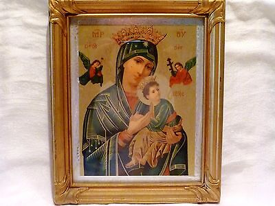 MID-CENTURY ERA Madonna & Child RUSSIAN ICON Silver Foil Matte & GOLD WOOD FRAME