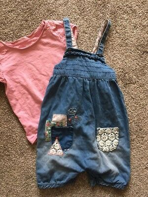 Girls Denim Dungarees Age 3-4 Years NEXT Blue Embroidered Pink Tshirt Set