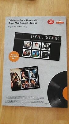 David Bowie Royal Mail Stamps Promotional Stand-up Display Card