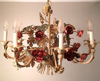 Italian Tole 8 Light Red Roses Cream Green Shabby Chic Large Chandelier Vintage