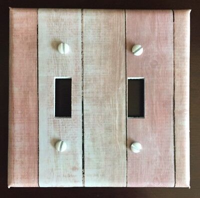Pink Light Switch Cover Plate Wooden Planks Aged Vintage Looking Old Wall Decor