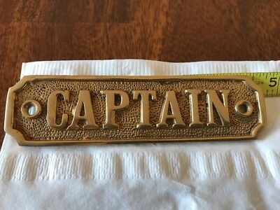 Solid Heavy Brass Captain's Quarters Nautical Name Door Plate Engraved