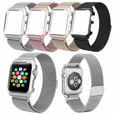 Silver Milanese Metal Magnetic Band Watch Band Strap & Case For Apple Watch 38mm