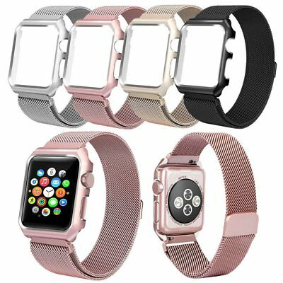Rose Red Milanese Metal Magnetic Watch Band Strap & Case For Apple Watch 38mm