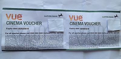 2 x Adult Vue Cinema Tickets ... EXPIRY 05/03/2018