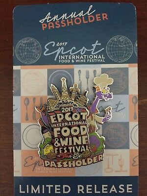 Disney Epcot Food and Wine Festival 2017 Figment Annual Passholder Disney Pin