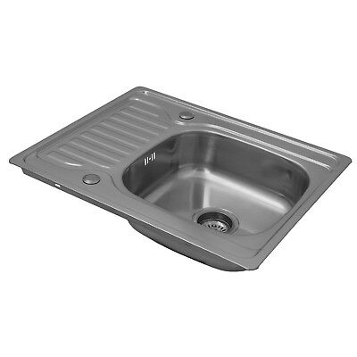 ENKI Compact One 1.0 Single Bowl Reversible Square Inset Kitchen Sink Drainboard