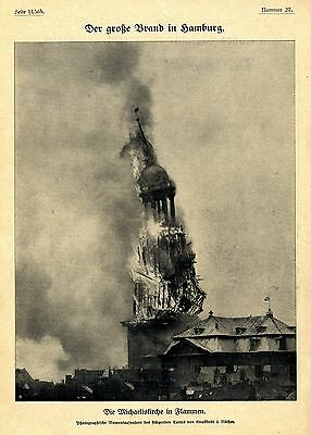 Brand in Hamburg * Die Michaeliskirche in Flammen 1906 * Historische Memorabile