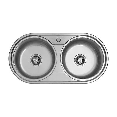 Enki Stainless Steel 2 0 Double Bowl Round Inset Topmount Kitchen Sink