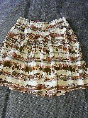 Girls Joules Skirt Age 7 Cream Green Brown House Tree Pattern