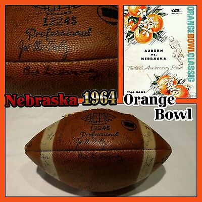 NEBRASKA CORNHUSKERS Signed Football 1964 Orange Bowl CHAMPS! BOB DEVANEY & TEAM