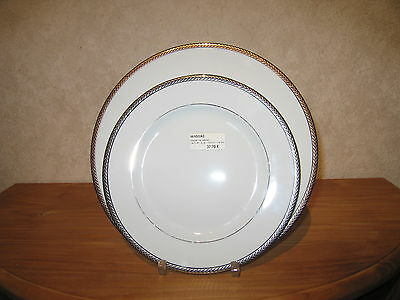 PHILIPPE DESHOULIERES *NEW* LAURIER PLATINE 6522 Set 2 Assiettes
