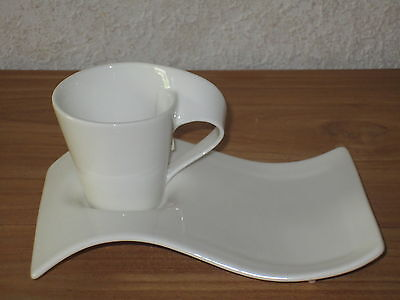VILLEROY & BOCH *NEW* New Wave Set 4 Tasses espresso 8 cl + plateaux Cups V&B