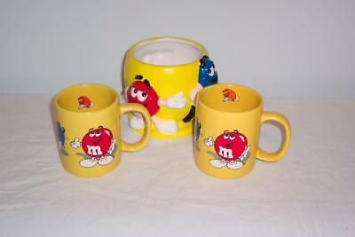 M&M's Candy Bowl and 2 1996 Coffee Mugs