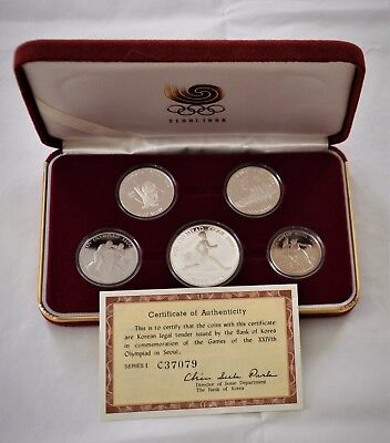 1988 Seoul Olympic 5 Coin Silver Proof Set