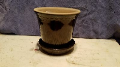 Antique Stoneware Flower Pot Crock Planter With Reed Pattern