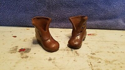 Pair of Unmarked What Cheer Iowa Stoneware Pottery Mini Boots Crock