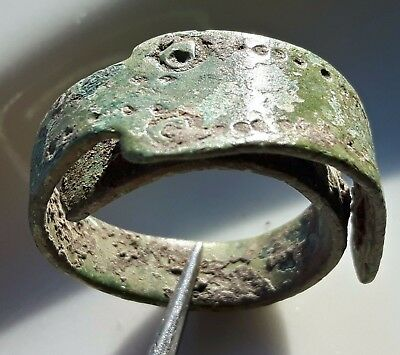 Celtic Bronze ** Large Snake / Horse Head Ring ** Amazing Ring ** Rare !!
