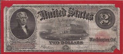 1917 $2 USN,Pearl Back,Legal Tender Note,large red seal,circulated VG/F,Nice!