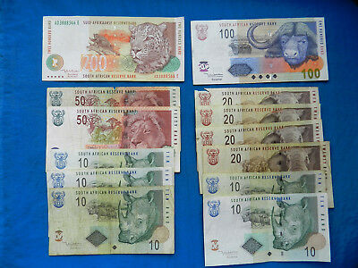 Lot of South African Rand Banknotes  *530 Rand*    *All Legal Tender*