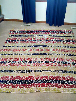 Vintage Antique Hand Woven Jacquard Coverlet with Eagles Red, Blue, Gold 60 x 78