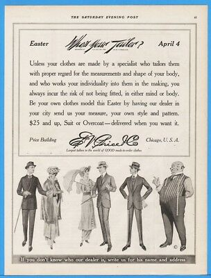 1915 Ed V Price Mens Clothes Tailors Tailoring Chicago IL Vintage Suit EASTER Ad