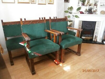 6 x Vintage Gothic / Arts & Crafts Style Solid Oak Dining Chairs inc 2 Carvers