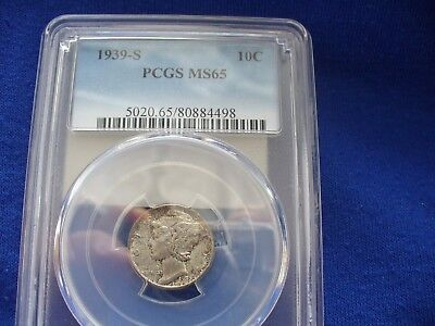 1939 S Mercury Dime  Pcgs Ms 65