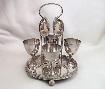 Good Silver Plated Egg Cruet - Joseph Rogers - 1890 - Large Cups