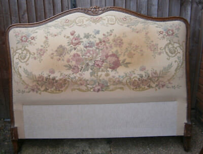 Vintage French Demi Corbeille  Upholstered Louis XV Style Double Bed