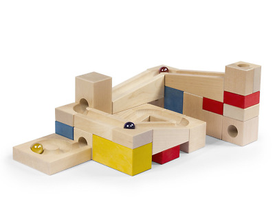 VARIS Wooden Marble Run, Early Learning Construction Toys for Kids, European Mad