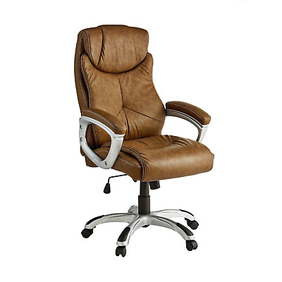 X-Rocker Leather Effect Executive Chair - Brown TO99