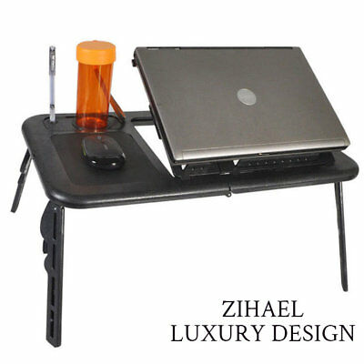 Laptop Desk Table with USB Cooling Fan Adjustable Foldable Stand-Portable Bed