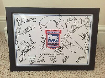 Hand Signed & Framed (x22) Ipswich Town Football Club A4 2017/18 Squad Sheet