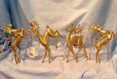 """Reindeer Ornaments Set of 4 w/ 4 poses Gold Glitter 6"""" to 6 1/2""""  $12.99"""