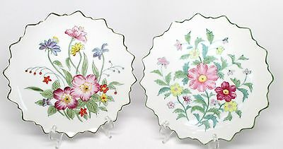 Andrea by Sadek - Pair of Floral Hanging Decorator Plates #9396 Japan - As Is