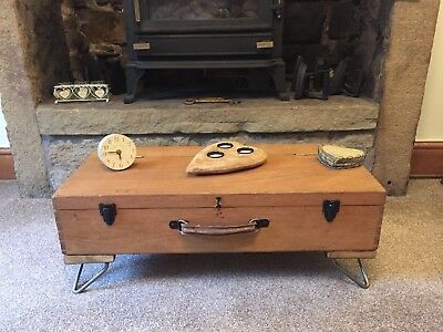 VINTAGE INDUSTRIAL CHEST Coffee Table, Chest, Rustic Antique Trunk, Hairpin Legs
